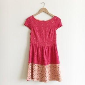 Kensie Red Orange Colorblock Lace Dress